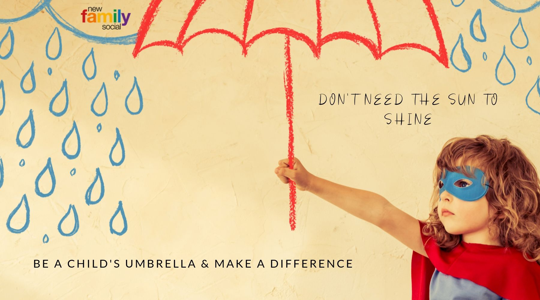 Girl with umbrella - you can protect her whatever the weather - join us